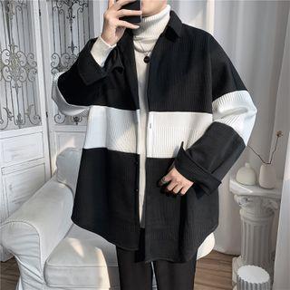 Hushgrain - Long-Sleeve Striped Knit Jacket