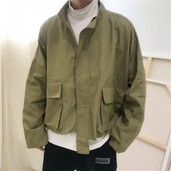 Banash - Plain Pocketed Long-Sleeve Jacket