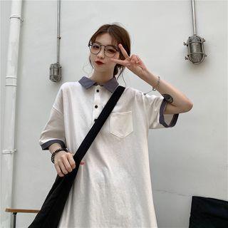 IndiGirl - Elbow-Sleeve Polo Shirtdress