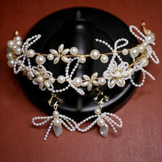 First Impression(ファーストインプレッション) - Set: Wedding Faux Pearl Layered Headband + Clip-On Earring