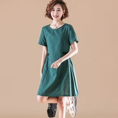 Fancy Show - Plain Short-Sleeve A-Line Dress