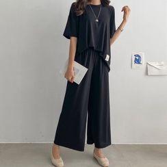 PIPPIN(ピッピン) - Set: Drop-Shoulder Patch-Trim T-Shirt + Band-Waist Pants