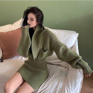 Alfie - Shawl-Collar Cropped Cardigan / Rib-Knit Mini Pencil Skirt