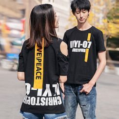 Igsoo - Couple Matching Set: Short-Sleeve Lettering Print T-Shirt + Cold Shoulder T-Shirt