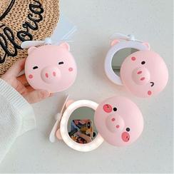 Aion - Ventilateur portatif rechargeable en forme de cochon avec miroir lumineux à LED