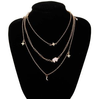 Ignar - Metal Triple-Layer Chain Necklace