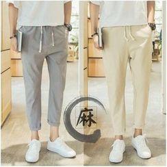 Sheck - Drawstring Cropped Pants