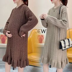 Owaho - Maternity Cable Knit Sweater Dress
