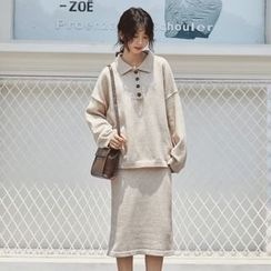 Deca - Set: Long-Sleeve Knit Polo Shirt + Midi Skirt