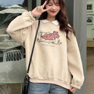 Puntino - Collared Bear Print Long-Sleeve Sweatshirt