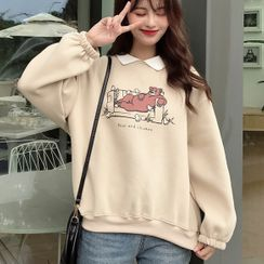 Puntino - Langarm-Sweatshirt mit Kragen und Bärendruck