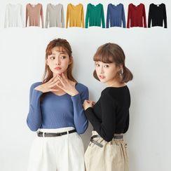 BAIMOMO - V-Neck Long-Sleeve Knit Top