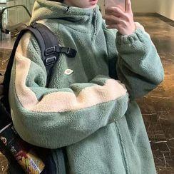 WidoWilder - Color Block Fleece Hooded Zipped Jacket