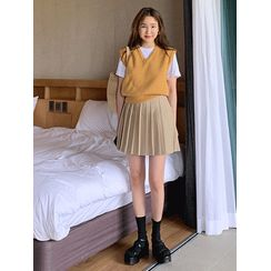 maybe-baby - Band-Waist Pleated Skirt