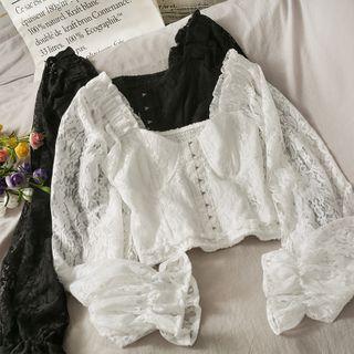 Lemongrass - 一字肩灯笼袖镂空钩花短款蕾丝衬衫