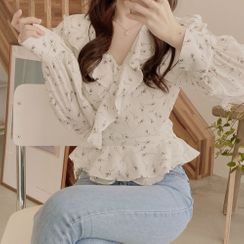Yunhouse - 荷葉邊雪紡襯衫