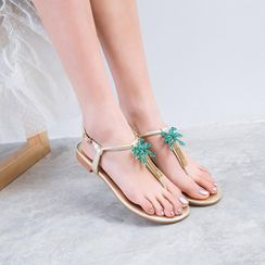 Shoes Galore - Gemstone Flat Flip-Flops