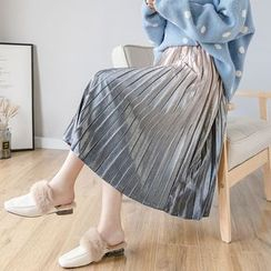 Sienne - Gradient Velvet A-Line Midi Pleated Skirt