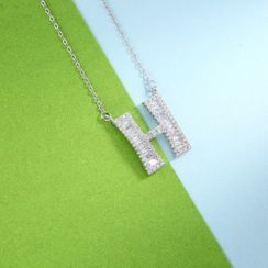 BELEC - 925 Sterling Silver Fashion Personality English Alphabet H Cubic Zircon Necklace
