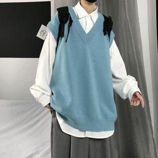 Soulcity - Plain V-Neck Knit Vest