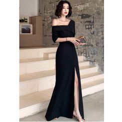 Antdragon - One-Shoulder Plain Slit A-Line Evening Gown