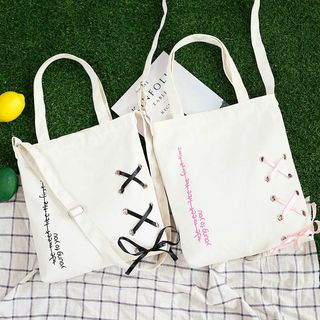 ANEMOI - Lettering Lace-Up Canvas Tote Bag