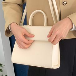 FROMBEGINNING - Pleather Flap Satchel