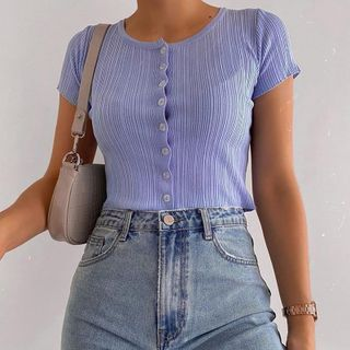 Femme Cradle - Ribbed Button-Up Short-Sleeve Crop Top