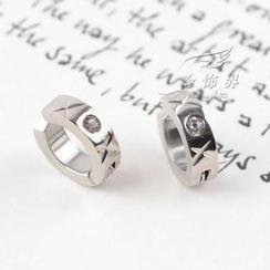 Trend Cool - Single Rhinstone Stainless Steel Earring