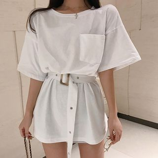 Sadelle - Elbow-Sleeve Belted A-Line Mini-T-Shirt-Kleid