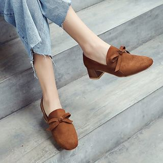 Megan - Faux Suede Ribbon Accent Block Heel Loafers