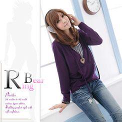 RingBear - 假两件横条小可爱长袖连帽薄针织罩衫