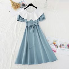 NINETTE - Collared Short-Sleeve Midi A-Line Dress