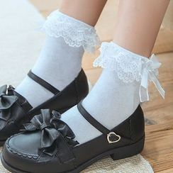 MOGLA - Lace Trim Bow Socks