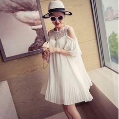 Elderboog - Maternity Short-Sleeve Cold Shoulder Lace Paneled Mini Shift Dress