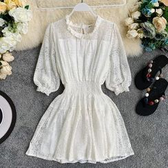 Lucuna - 3/4-Sleeve Lace A-Line Mini Dress