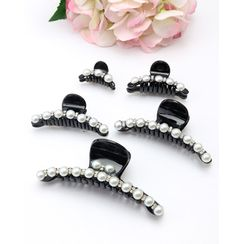 Miss21 Korea - Faux-Pearl Trim Hair Claw Set (5 PCS)