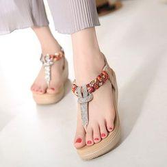 Damore - Wedge-Heel Embellished Sandals