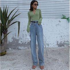 Colada - Asymmetric-Waistline Straight-Cut Jeans