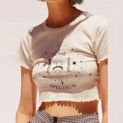 Rovio - Short-Sleeve Graphic Print Frill Trim Crop Top