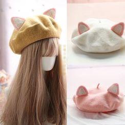 Elfis - 貓耳朵毛呢混紡貝雷帽