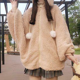 AKANYA(アカニャ) - Rabbit Ear Accent Hooded Zip-Up Fleece Jacket