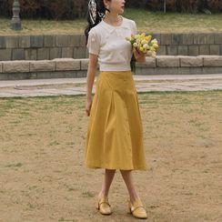 Glaypio - 套装: 短袖花朵细节针织上衣 + A字中长裙 + 抹胸上衣