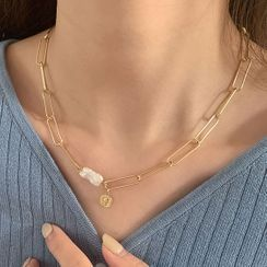 Cuivre - Faux Pearl Chain Necklace