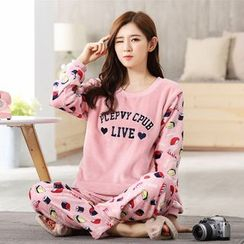 PJ Party - Pajama Set: Fleece Embroidery Pullover + Pants