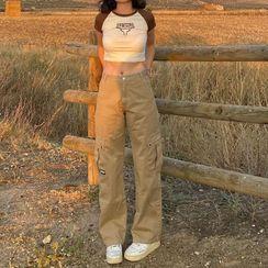 BrickBlack - Plain Wide-Leg Cargo Pants
