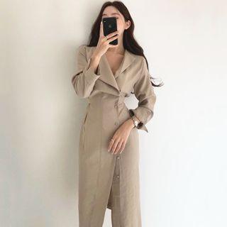 Coris - Plain Long-Sleeve Midi A-Line Dress