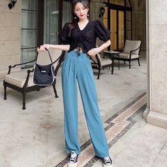 Jeans Kingdom - V-Neck Short-Sleeve Top / Dress Pants