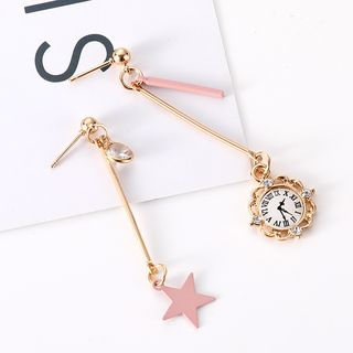 Ignar - Asymmetric Star-And-Clock Drop Earring