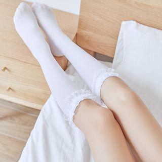 Yenx - Lace Ruffle Knee High Socks
